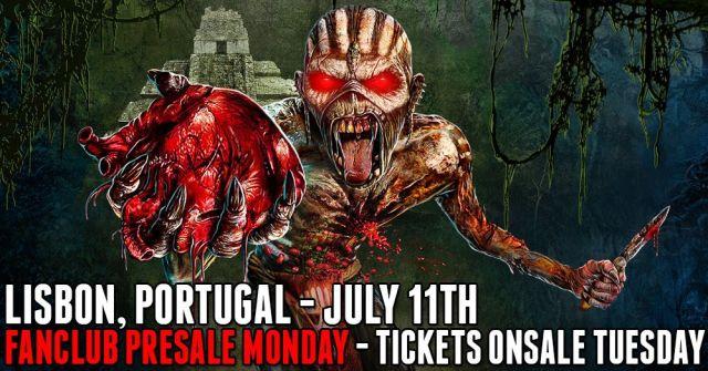 Anúncio oficial do 15.° concerto dos Iron Maiden em Portugal: 11 de julho de 2016, Lisboa